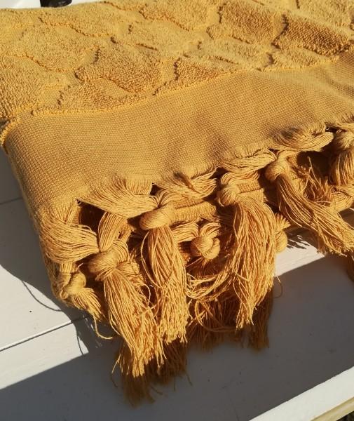 Handtuch DINA Curry 50x70 cm Frottee Fransen