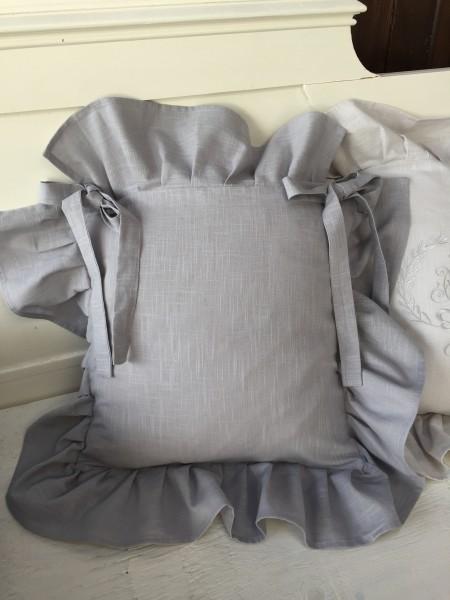 Stuhlkissenbezug LINA Grey Volant 4 Seiten 42x42 cm Baumwolle