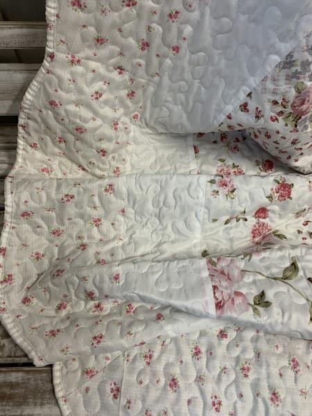 Tagesdecke Flower ROSE 180 x 260 cm Weiß Rosa Creme Einzelbett Steppdecke Sofaüberwurf Landha