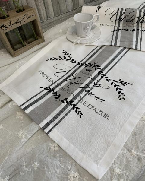 Tischläufer MAJE SCHWARZ 35x120 cm Landhaus Shabby Brocante
