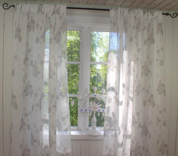 Vorhang ROSALIE offwhite Rosen Sand Gardine 140x250cm 2 Stück Gardinenschals Romantik Landhaus
