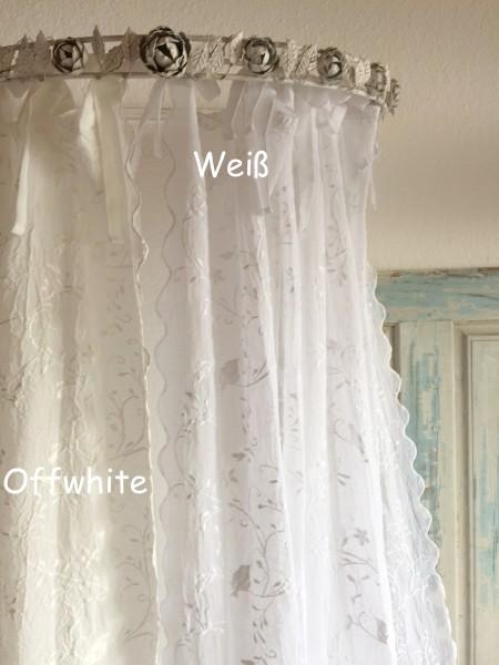 Gardinen Schal NEW BIRD OFFWHITE Bestickt 130x250 cm Shabby Vintage Landhaus transparent