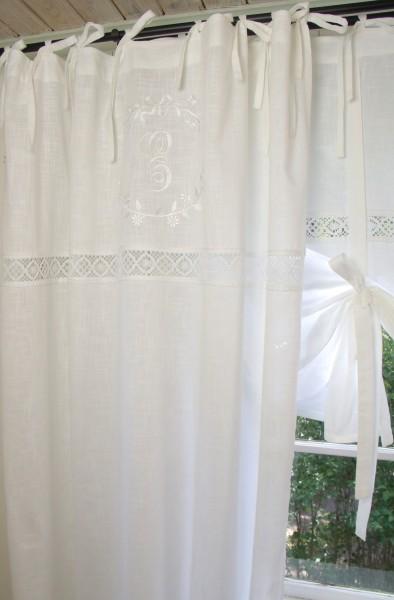 Vorhang EMILIA WEIß Gardine 140x250 cm 2 STÜCK bestickt Spitze Baumwolle