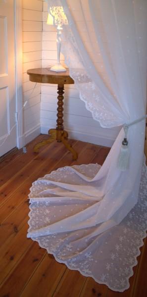Gardinen Schal KAYA OFFWHITE 1 x 130x250 cm BxH(L) Bestickt Shabby Vintage Landhaus Bandaufhängung