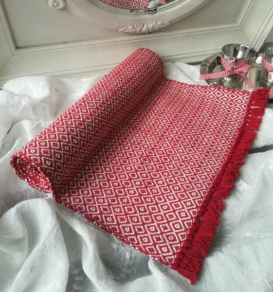 Tischläufer AMANDA Rot Weiß Karo 40x140 cm