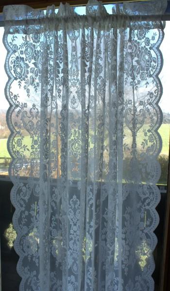 WEIß LUCIA Vorhang Spitzen Gardine Rosen 120x240 cm 2 Stück Gardinenshals Landhaus Shabby Vintage Ro