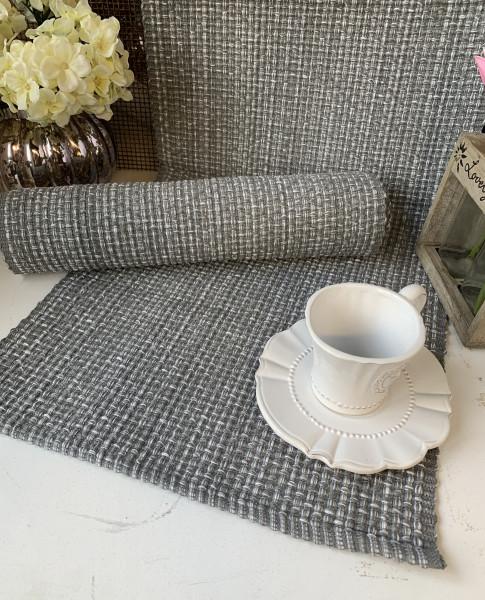 Tischläufer COCO Grau Meliert 35 x 120 cm Landhaus Loft Shabby Baumwolle