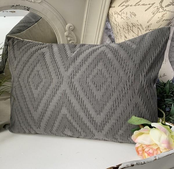 Kissen Bezug Hülle TIM 40x60 cm Grau /Creme Deko Kissen Bezug Landhaus Baumwolle