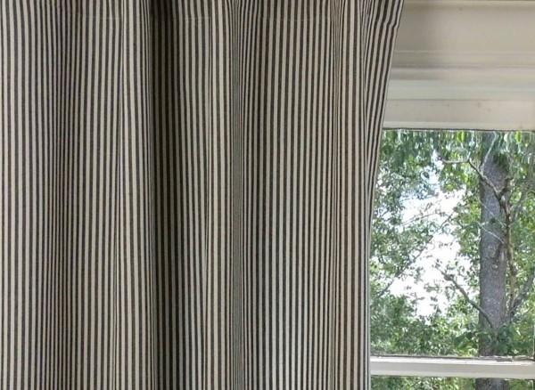 Vorhang PAMELA SCHWARZ CREME Gestreift 120x250 cm 2 Stück Vorhangschals