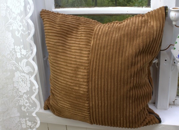 Kissenbezug SUNA Samt Kord COGNAC 50x50 cm Polyester Kissen Hülle Landhaus