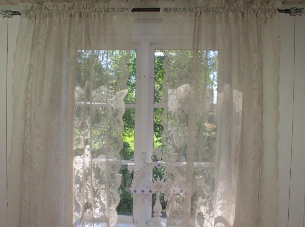 Vorhang LUCIA SAND Spitzen Gardine Rosen 120x240 cm 2 Stück