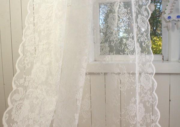 Vorhang MERLE OFFWHITE Spitzen Gardine Rosen 120x240 cm 2 Stück Gardinenschals