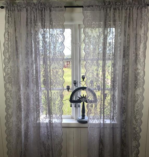 GRAU LUCIA Vorhang Spitzen Gardine Rosen 120x240 cm 2 Stück Gardinenshals Landhaus Shabby Vintage Ro