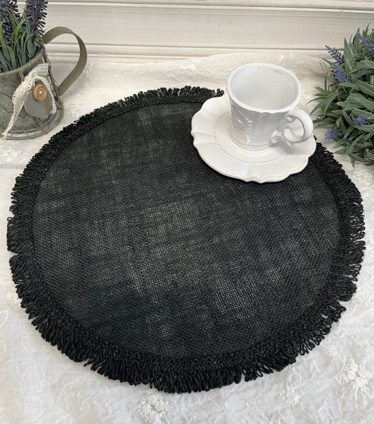 Tischset Platzset RAMI Schwarz 2 Stück 38 cm Leinen Landhaus